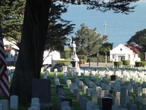 Looking toward the San Francisco Bay in the San Francisco National Cemetery. Photo by Loren Rhoads.