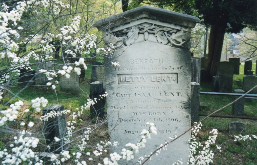Letty Lent's gravestone at the Sleepy Hollow Cemetery, Tarrytown, NY