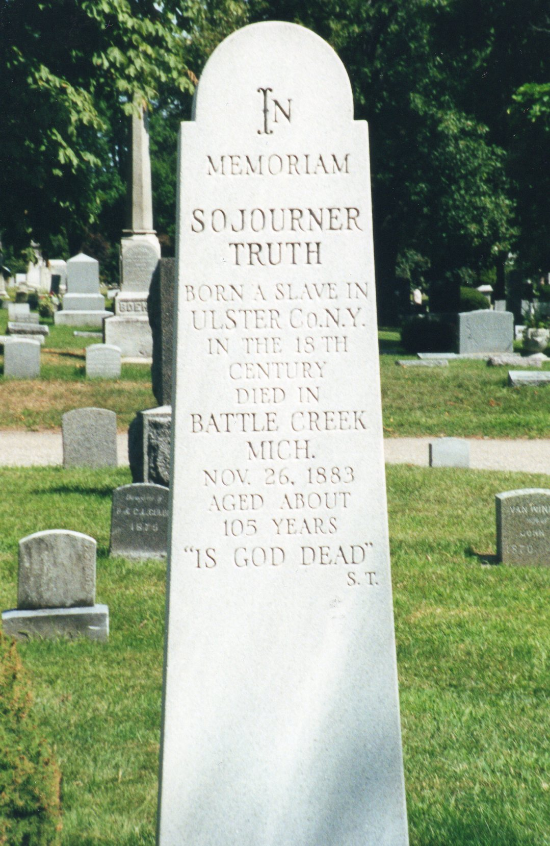 cemetery of the week 50 gravesite of sojourner truth cemetery sojourner truth s gravestone