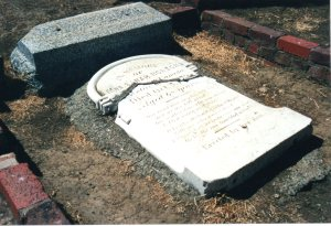 Sarah Norton's gravestone, before it was repaired