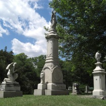 Shrouded granite urns on family plot, Elmwood Cemetery, Detroit