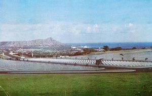Vintage postcard of the Punchbowl Cemetery overlooking Diamondhead.
