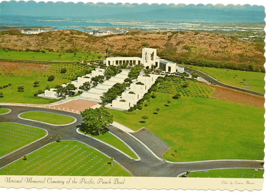 National Memorial Cemetery of the Pacific, with Honolulu in the distance.