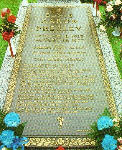 Detail of Elvis's bronze grave marker.