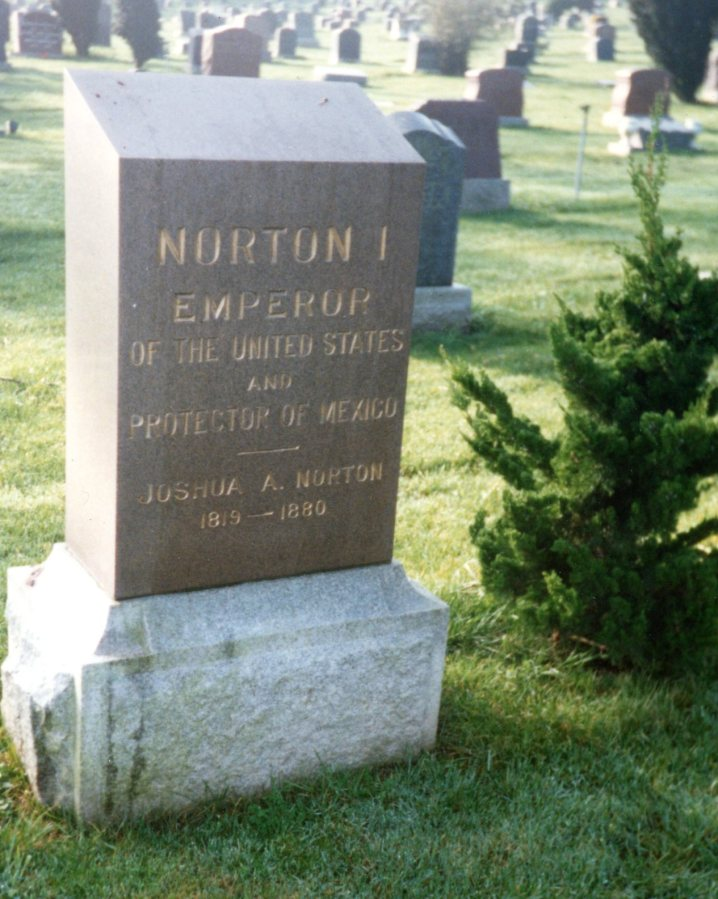 Emperor Norton's monument, Greenlawn Cemetery, Colma.  Photo by Loren Rhoads.