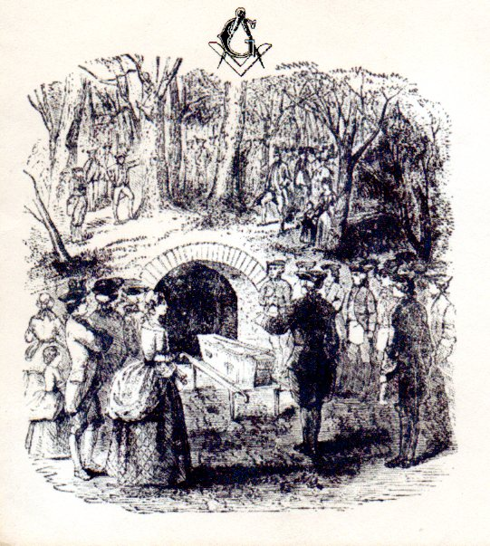 The Masonic ritual at Washington's first burial, from a first day of issue envelope from 1956.
