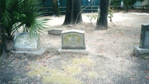 Modern granite gravestones amongst the historic graves.  Photograph by Kathleen Rhoads.