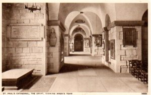Vintage postcard of the crypt at St. Paul's, showing Wren's tomb on the left.