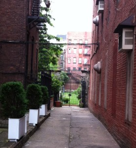 Through the gate of the New York Marble Cemetery