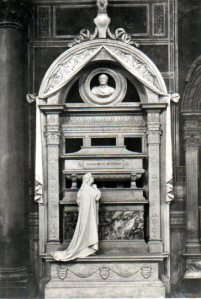 Vintage postcard of Rossini's tomb.