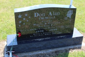 "Grave of Don Alan McWethy, ""one of the 100 most influential magicians of the 20th century,"" according to Magic Magazine."
