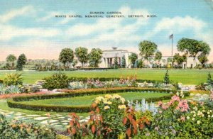 Vintage postcard of the grounds at White Chapel Memorial Park