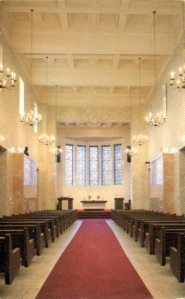 Interior of the chapel at White Chapel Memorial Park. Vintage postcard.