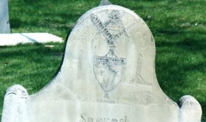 The top of Frederick Gilbert's gravestone