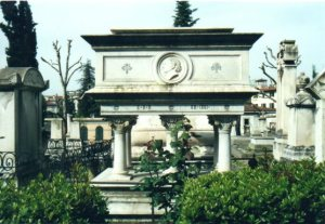 The monument of Elizabeth Barrett Browning, English Cemetery, Florence, Italy. Photo by Loren Rhoads.