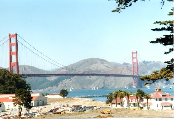 Looking across Chrissy Field toward the Golden Gate Bridge