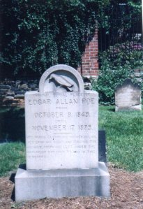 The stone marking Poe's original grave, photographed by R. Samuel Klatchko
