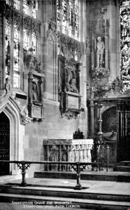Vintage postcard of the grave slabs set in the floor of the chancel with Shakespeare's memorial on the wall above them.