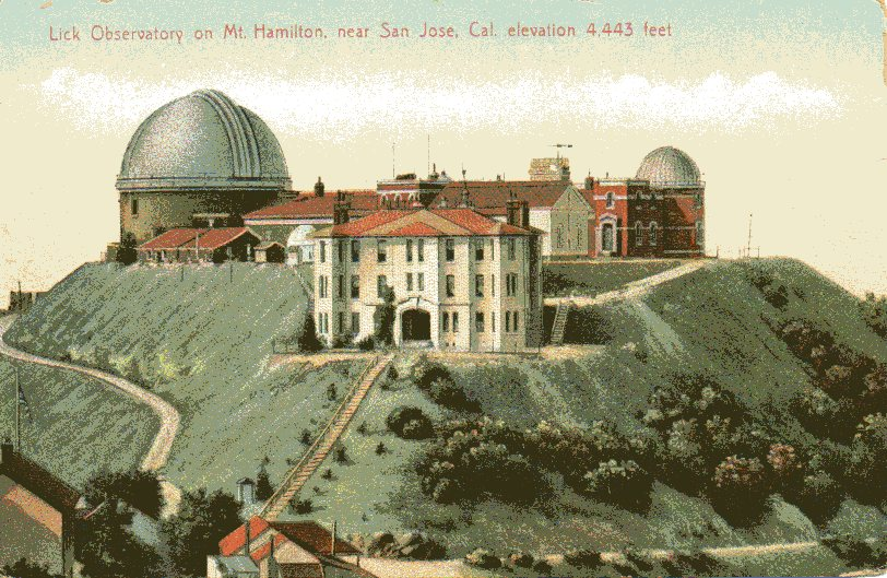 Vintage postcard of the Lick Observatory on Mount Hamilton.
