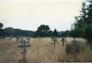 My photo of the reconstructed grave markers under a gray Sonoma Coast sky.