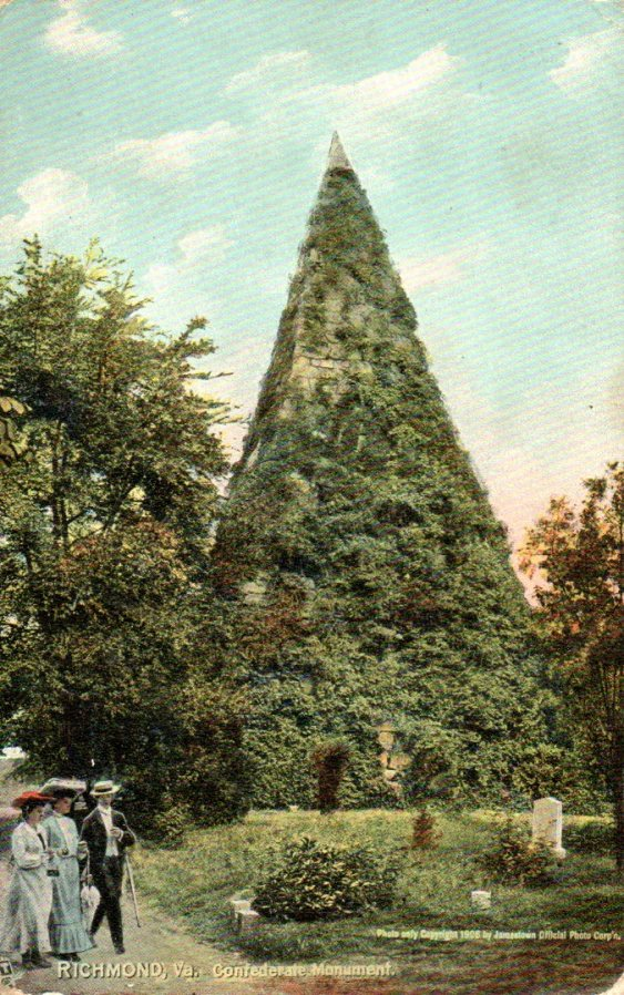 Vintage postcard of the Confederate monument, postmarked 1910