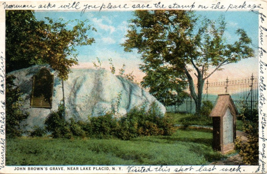 Vintage postcard of John Brown's grave