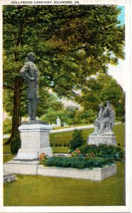 Vintage postcard of the monument to Jefferson Davis