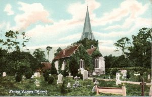 Vintage postcard of Stoke Poges Churchyard, pre-1924