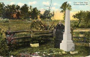 Zerelda Samuels, Jesse James's mother, stands by his original grave