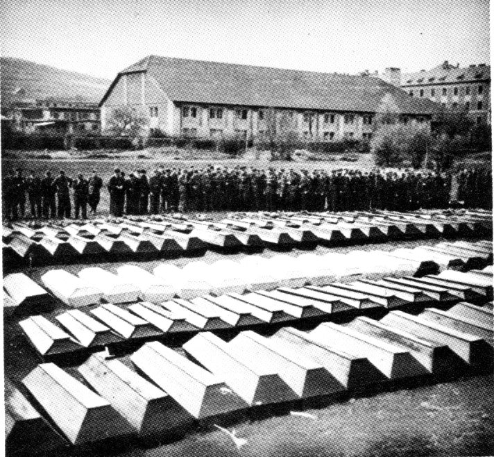 Coffins after the war, awaiting burial.