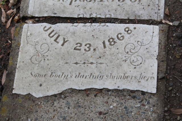 Broken headstone in the Alamo Cemetery, Danville, California