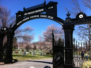 The beautiful entry gate to Rock Creek Cemetery