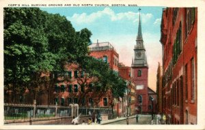 Vintage postcard of Copp's Hill Burying Ground and the Old North Church