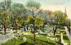 Vintage postcard of Copp's Hill Burying Ground, postmarked 1909.